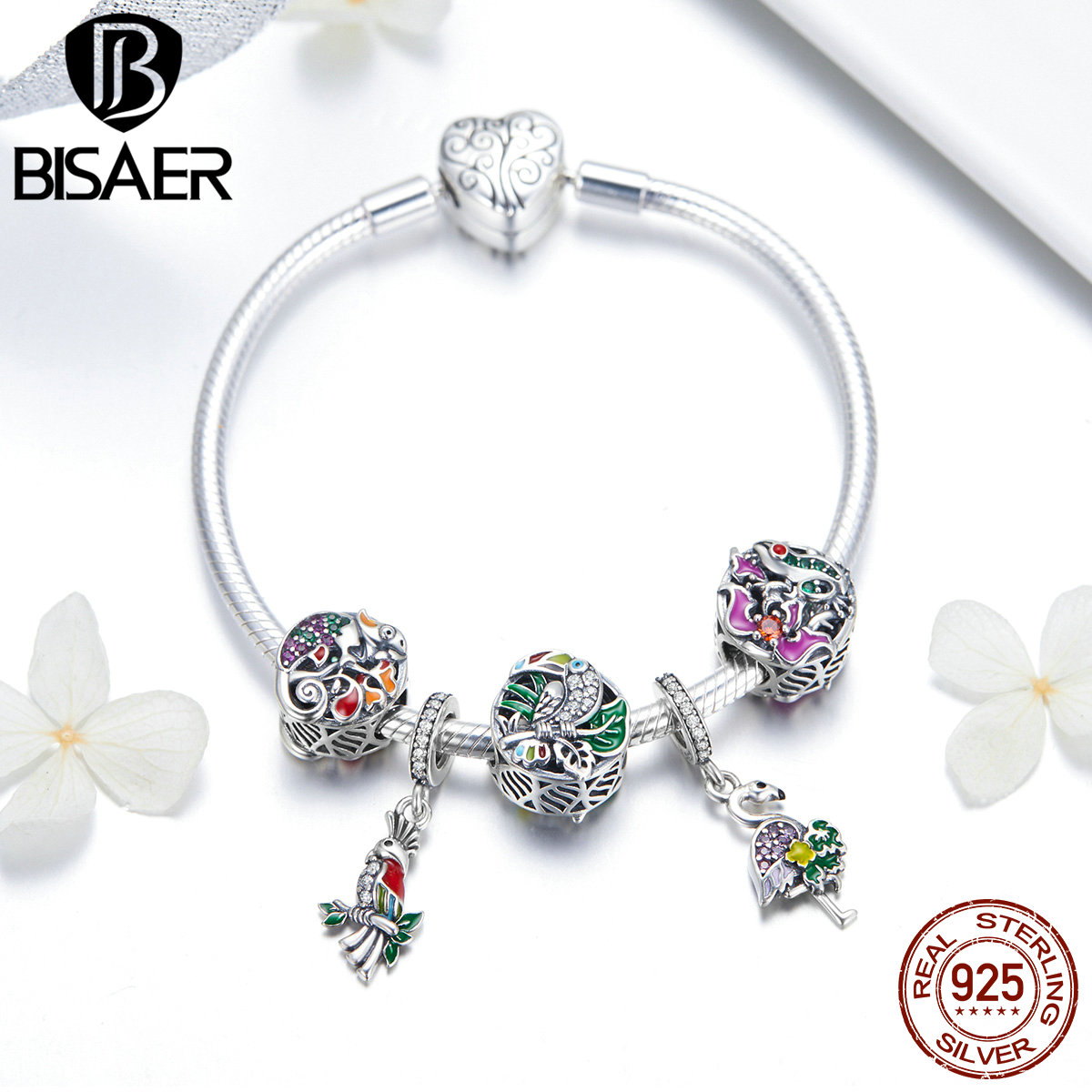 BISAER Real 925 Sterling Silver Tropical Forest Bird Flamingo Heart Clasp Femme Women Bracelets Authentic Silver