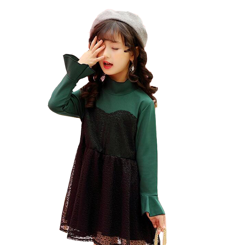 Kids Lace Dresses For Girls Long Sleeve Patchwork Princess Party Dresses Spring Autumn Bottoming Dress 2 4 6 8 9 10 12 Vestidos girls princess party dresses 4 long sleeve striped kids dresses for girls 6 preppy style bottoming dress 8 ball gowns 10 12years