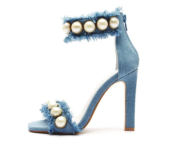 2017 summer newest denim blue high heel sandal white pearl studded ankle strap sexy sandal woman open toe fashion sandal fashion design jaeryn studded leather sandals rivets combat ankle booties high thick heel shoe open toe sexy summer woman sandal