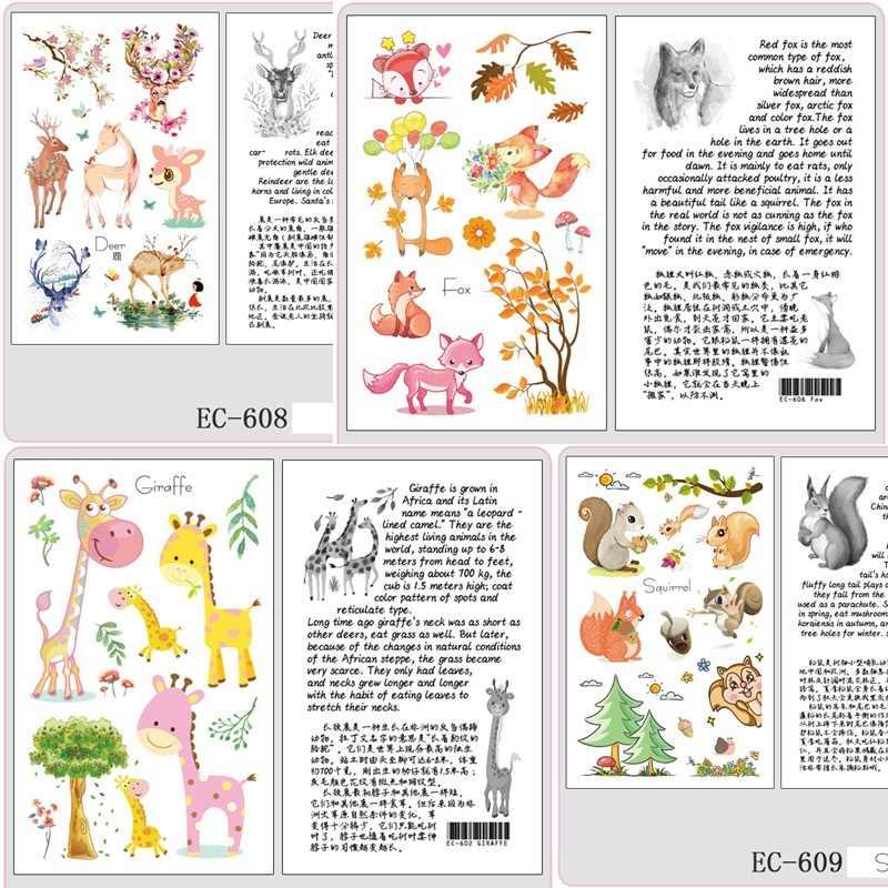 Lion Flamingo Temporäre Tiger Tattoo Aufkleber Für Kinder Kinder 3D Tattoo Aufkleber Elefanten Meerjungfrau Dinosaurier Deer Fox Tatoo