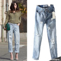 2015 za Street Fashion Women Light Blue vintage Denim Hole Jeans women Loose Casual Denim Pants Trousers