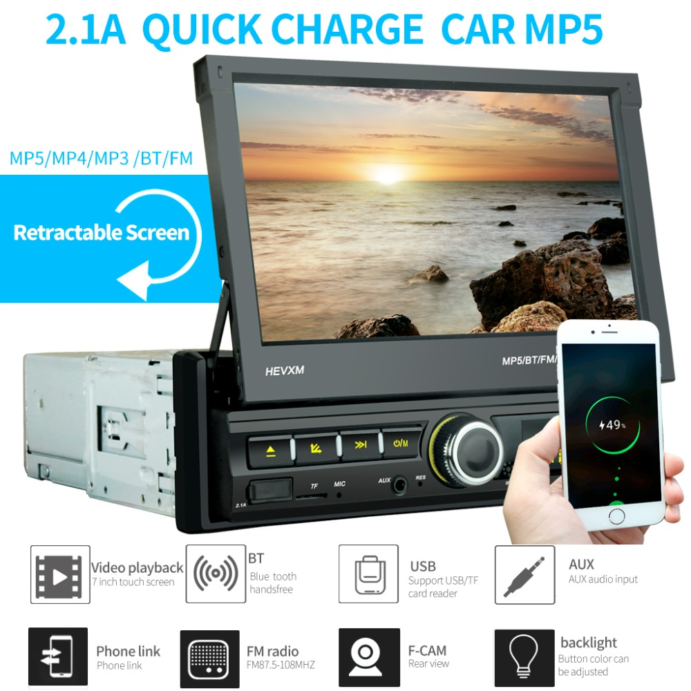 1 Din Car Radio Bluetooth Mirror link 1din Multimedia Player Touch Screen Retractable MP5 USB Audio Stereo image