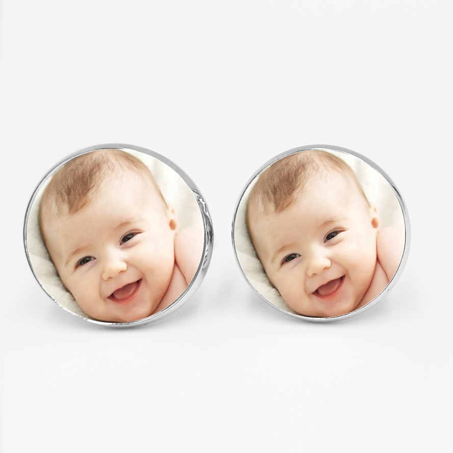 Handmade Personality Photo Family Photo Baby Child Dad Mom Brother Sister Grandparents Family Folding Cufflinks Private Custom