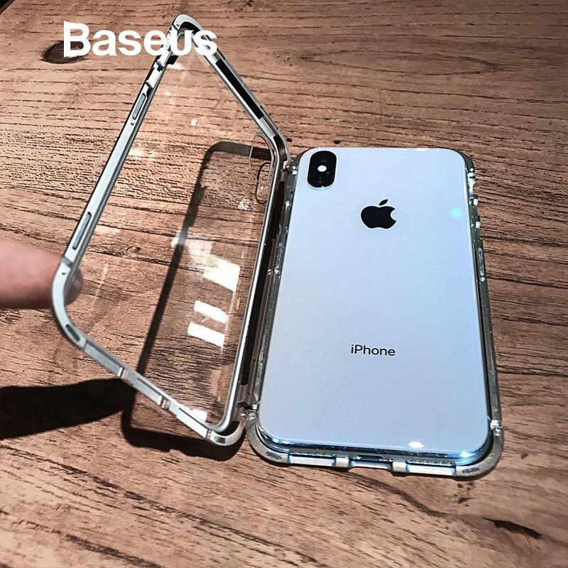 Baseus adsorción magnética Flip caso para iPhone Xs Max Xs de Metal Marco de vidrio templado para iPhone Xs 2018 teléfono coque cubierta