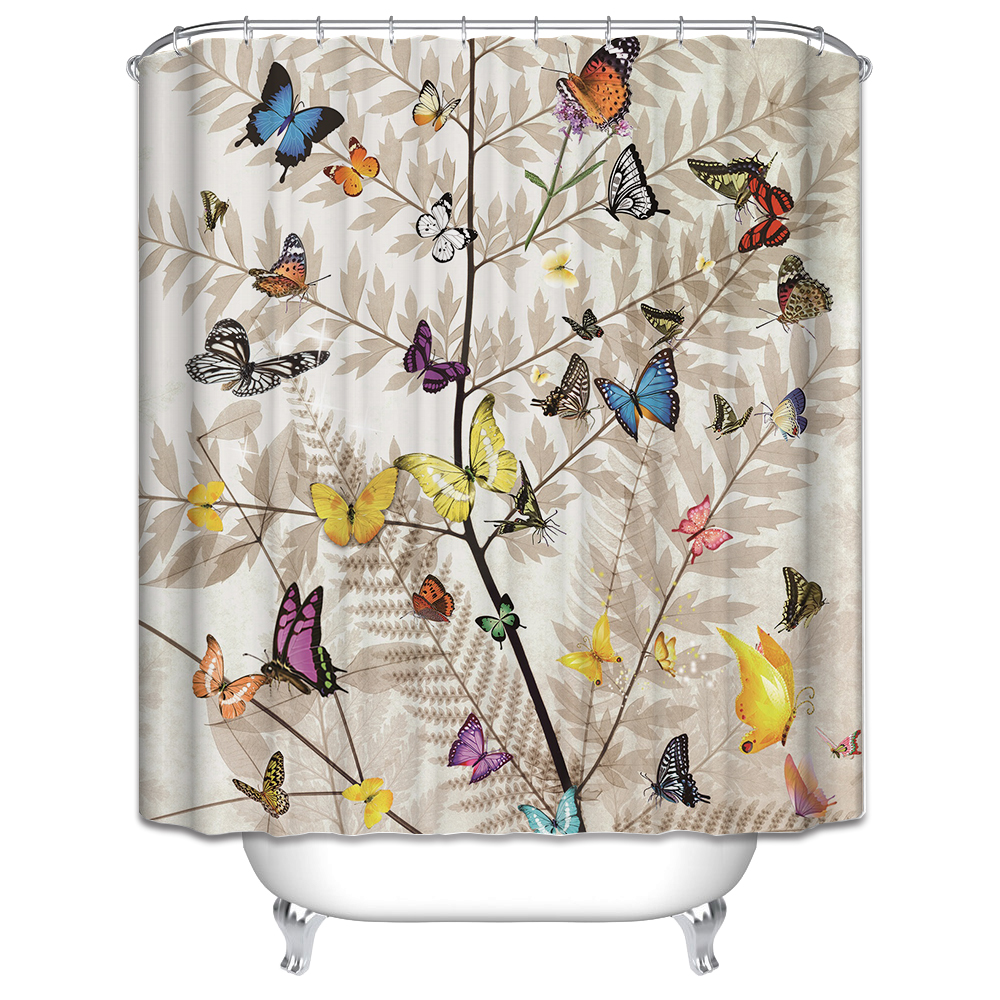 3d butterfly shower curtain set waterproof creative bathroom product