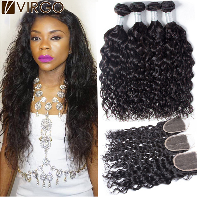 Virgin Peruvian Curly Hair With Closure Wet And Wavy 4 Bundles Water