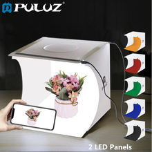PULUZ 2LED Lightbox 1100LM caixa Mini Photo Studio Box Fotografia Luz Caixa de Kit Caixa de Luz Estúdio de Fotografia Tiro Tenda & 6 cor Backdrops