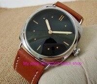 47mm PARNIS black dial Asian 6497 Mechanical Hand Wind movement men's watch luminous Mechanical Wristwatches 336