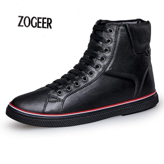 Plus Size EU38-46 Couro Pele Quente Homens Sólidos Casual Neve botas de Inverno Sapatos de Couro Marrom Preto Genuíno Masculinos de Couro do Tornozelo botas