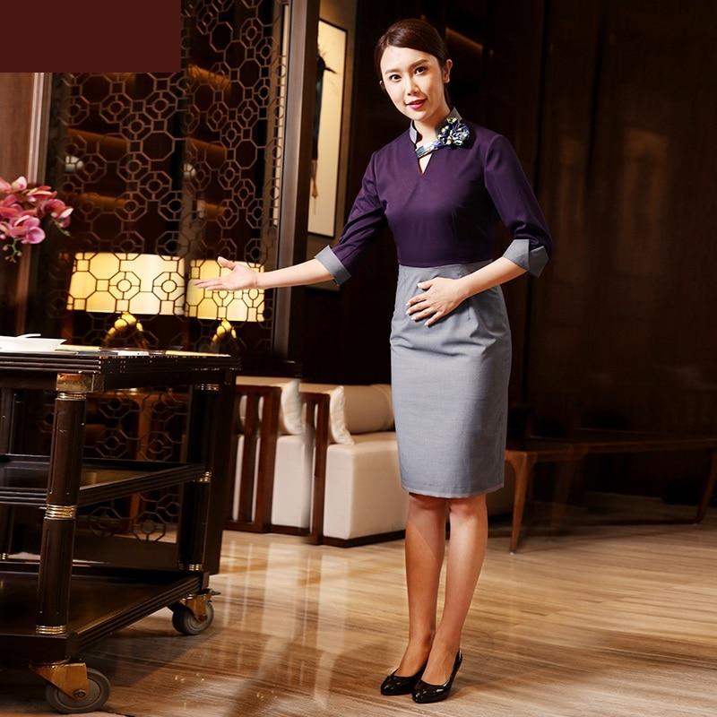 2018 high end hotel waitress work uniform dress restaurant for Spa uniform policy