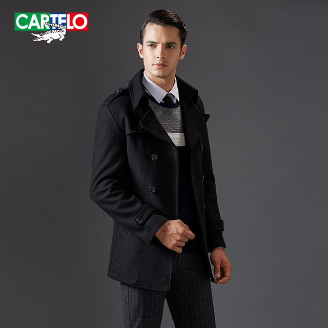 Cartelo brand 2016 brand new cashmere men wool jacket blends winter fashion business casual overcoat