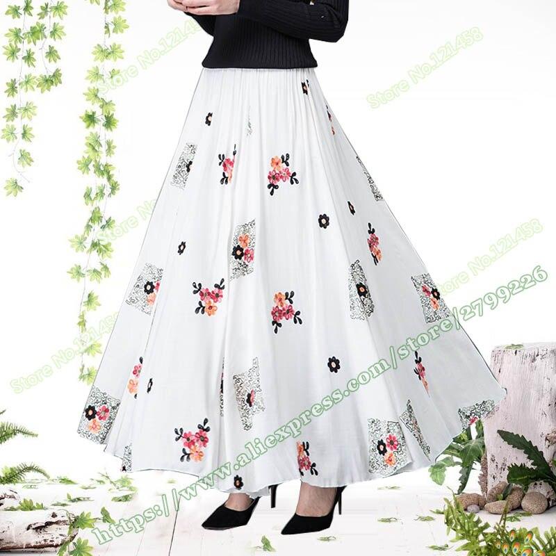 2018 春の新作コットンとリネンカジュアルプラスサイズ 5XL XXXXXL 刺繍花女性ロングマキシスカートレディース  グループ上の レディース衣服 からの スカート の中 1