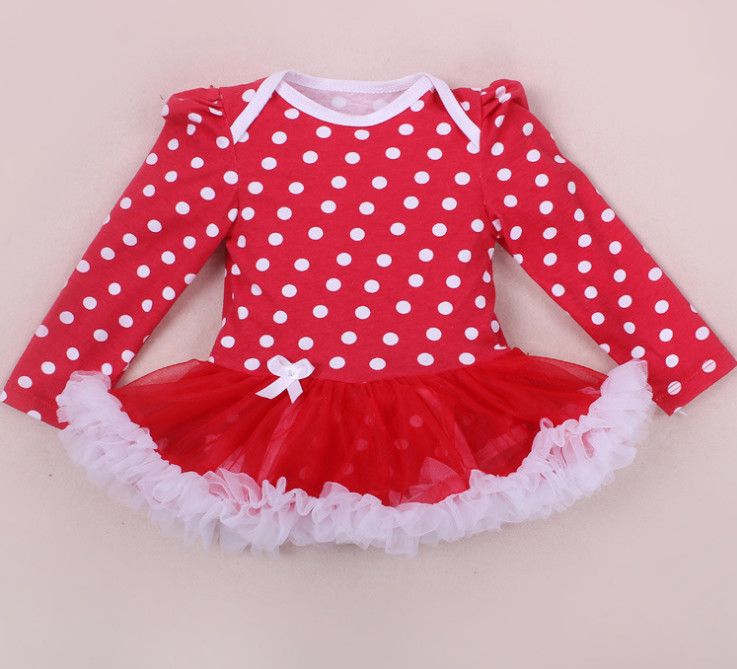 New Style Baby Girl Clothing Newborn Infant Lace Tutu Romper Dress Polka Dot Print Jumpersuit First Birthday Christmas Costumes