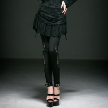 Punk Rave Gothic Style Kinted Dark Fringe Jacquard Legging Lace Solid Ankle-Length Leggings K-194