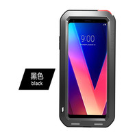 LOVE MEI Powerful Cases For LG V30 LGV30 6.0'' Cover Heavy Duty Shockproof Case Quality TPU & Hard Metal Cover & Toughened Glass