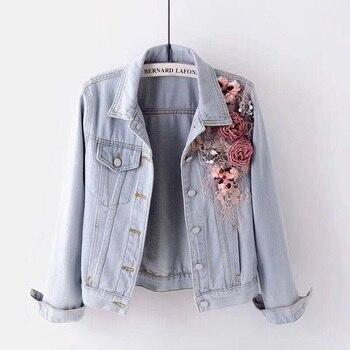 2019 Autumn Women Embroidery Three Dimensional Flowers Pearl Bead Short Denim Coat Woman Long Sleeve Jean Jacket xintiandi 1