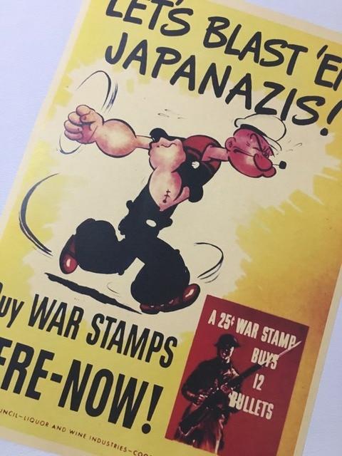 buy war stamps blash japanazis us war propaganda ww2 vintage retro