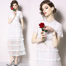 New womens slim slimming high waist multi-layer bud silk screen cake dress temperament elegant