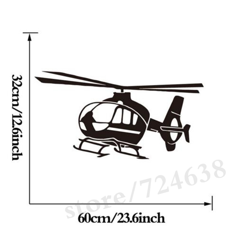 US $7 98 20% OFF|Small Helicopter Vinyl Wall Sticker Home Decor Self  Adhesive Airplane Art Decals For Kids Room-in Wall Stickers from Home &  Garden on