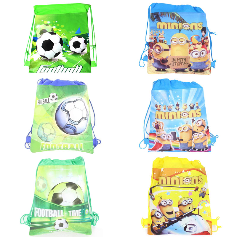 Minions Cartoon Non-Woven Fabric Drawstring Bags Football Backpack Baby Shower Happy Birthday Party Decoration Kids Supplies