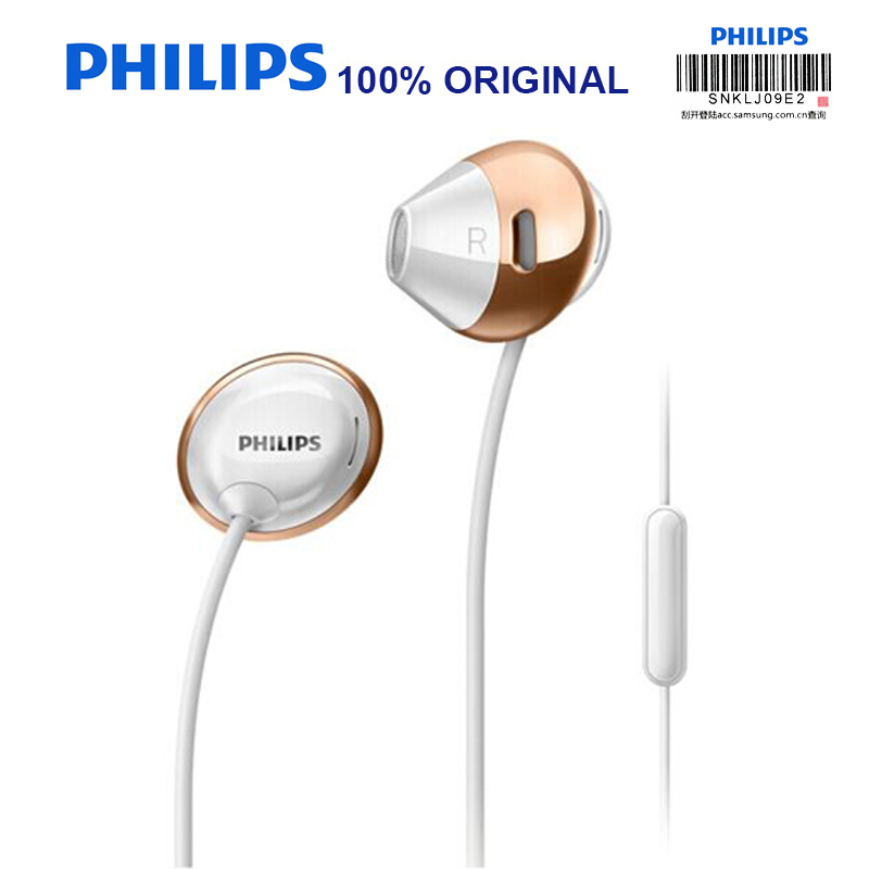 Philips SHE4205 Original Wired Earphone with In-Ear Sports Earphone Microphone for Galaxy 8 Official Verification philips she4205 black