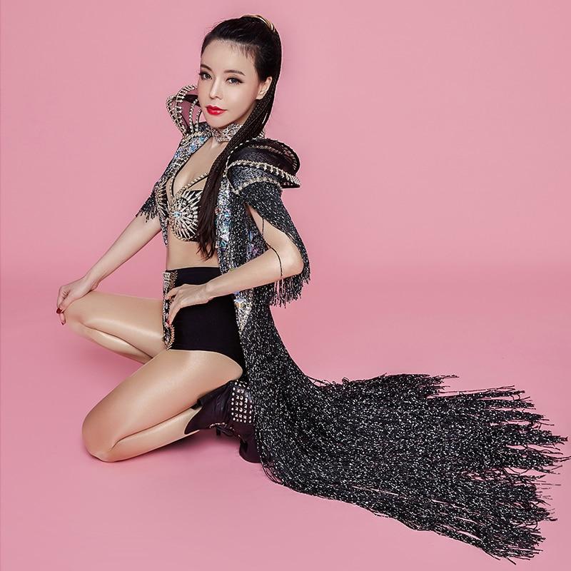 Femmes Star chanteur Concert Performance vêtements brillant strass glands Long manteau cristaux Bikini discothèque spectacle scène Costume - 3