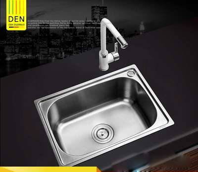 450X390x200mm 304 stainless steel Kitchen Sink,brushed, Single Bowl slot vegetable trough tank with Faucet Basket Drain Assembly kitchen drain basket