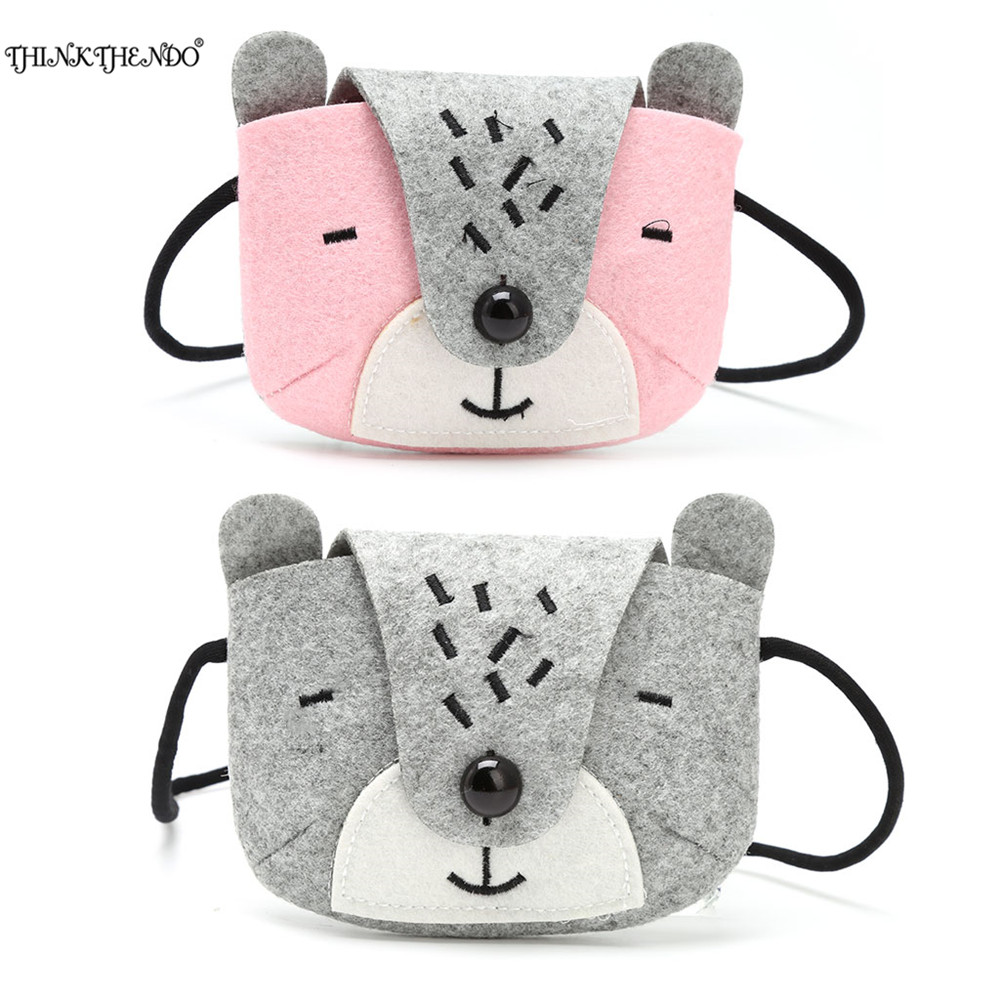 THINKTHENDO Cute Bear Coin Wallet Girl Simulation Plush Purse Small Purse Female Animal Pattern Fashion Messenger Bag 2017 m215 cute cartoon pets akita dog siberian husky personality plush coin purse wallet girl women student gift wholesale
