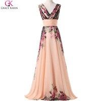 Long Evening Dress 2016 New Arrival Grace Karin Flower Floral V Neck Print Pattern Elegant Formal