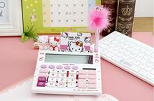 12 digits solar cute hello kitty calculator solar calculator with pen and notebook 180mm 170mm 80mm