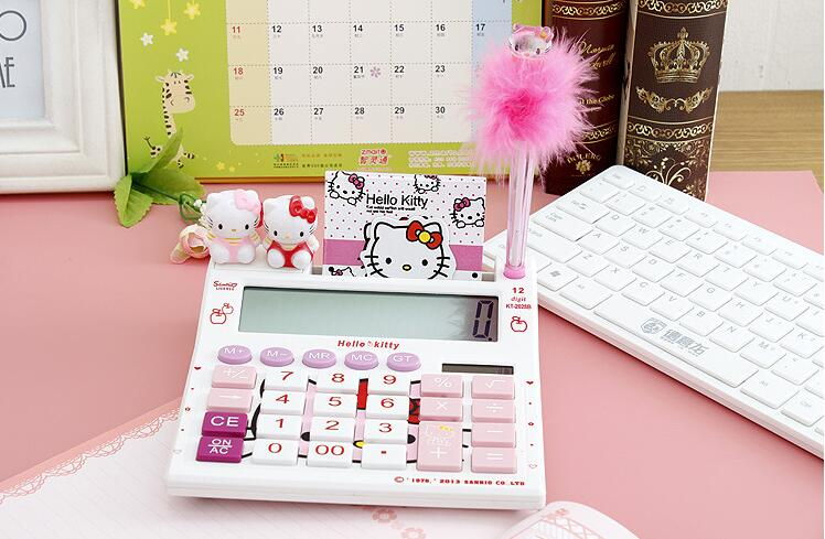 12 digits solar cute hello kitty font b calculator b font solar font b calculator b