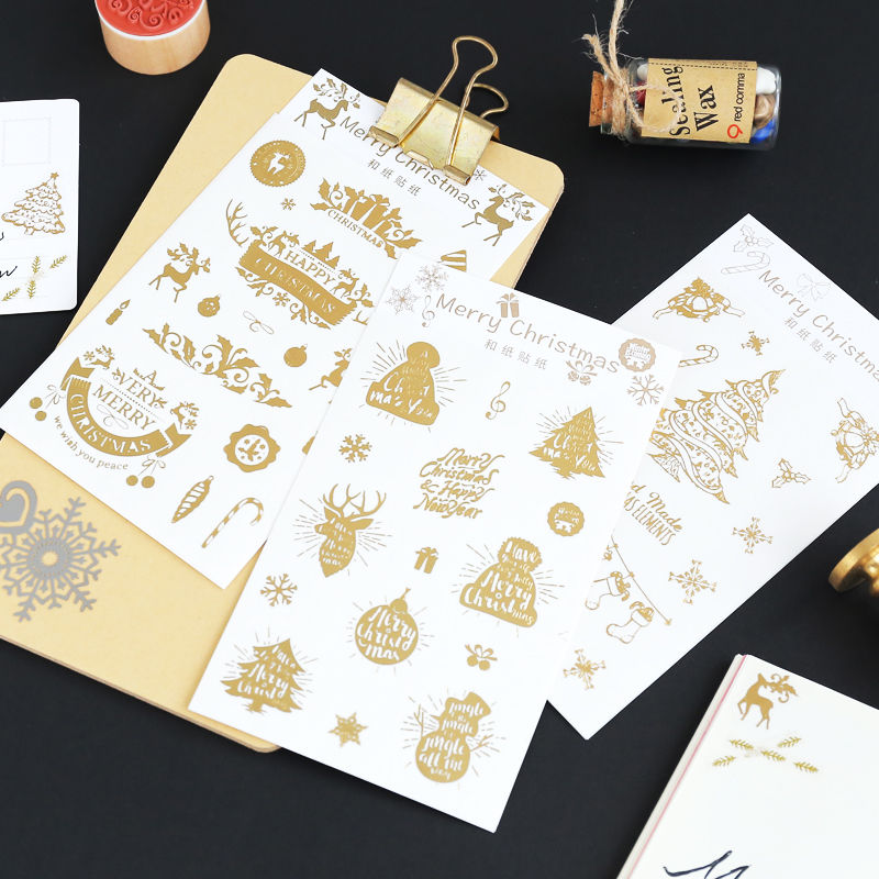 Christmas Gift Tag Stickers Modern Gold Xmas Designs 8 Pattern For Merry Christmas Holiday Gift Bags Party Supplies merry christmas snowman pattern decorative stair stickers