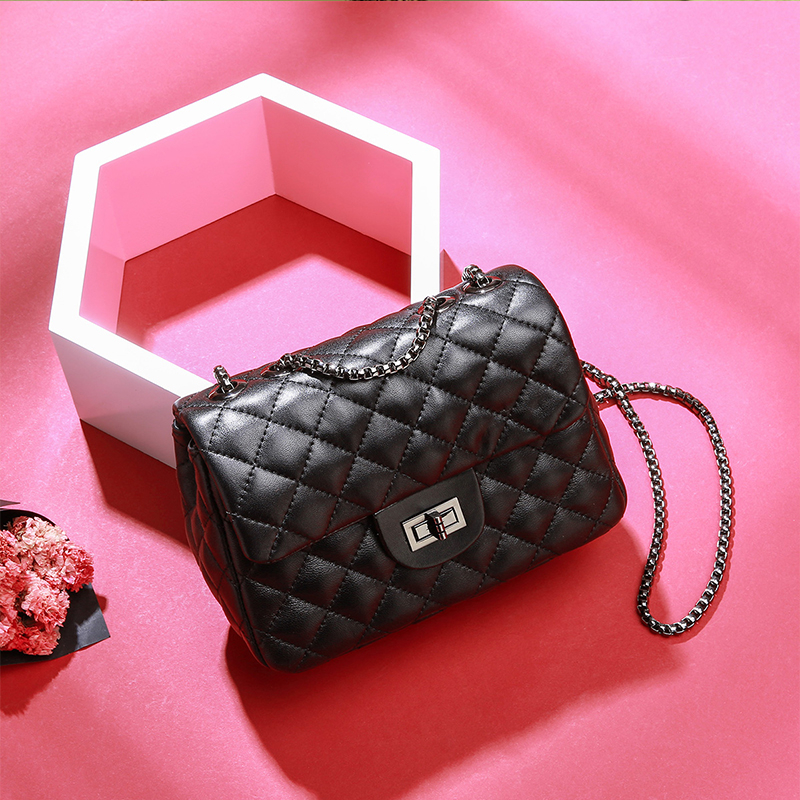 Burminsa Mini Lambskin Quilted Leather Women Chain Bags Black Female Crossbody Bags Classic Design Luxury Ladies Hand Bags 2019
