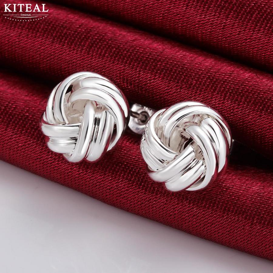 Hot Sale!!hot sell silver plated Earing,Fashion Silver Jewelry Button-Shaped stud Earrings SMTE377