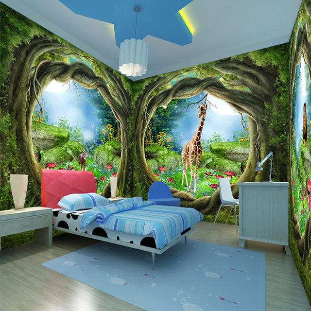 Large Custom Wall Mural Wallpaper 3D Stereoscopic Fantasy Fairy Tale Forest  Tree Animal Whole House Theme Part 84