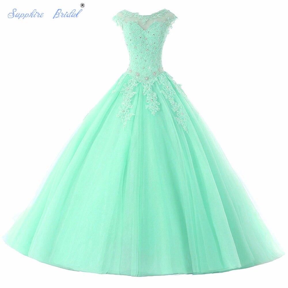 Saphir mariée longues robes De soirée Vestido De 15 Anos De Cap manches dentelle dos ouvert lavande Turquoise perles Quinceanera robe