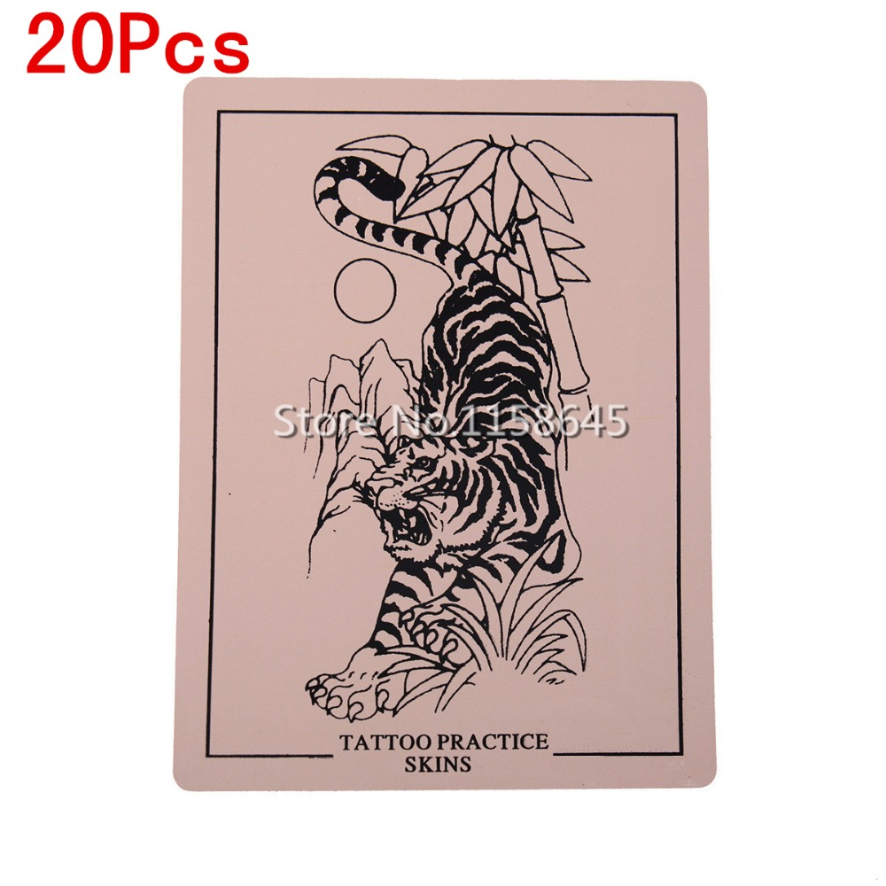 20Pcs Top Tiger Pictures Professhinal Tattoo Practice Skin Sheet Simulation Permanent Ma ...