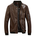 2016 Autumn Winter Men Jacket Faux Leather Motorcycle Jacket Male Coat Baseball Collar Slim Bomber Jackets Man jaqueta masculina