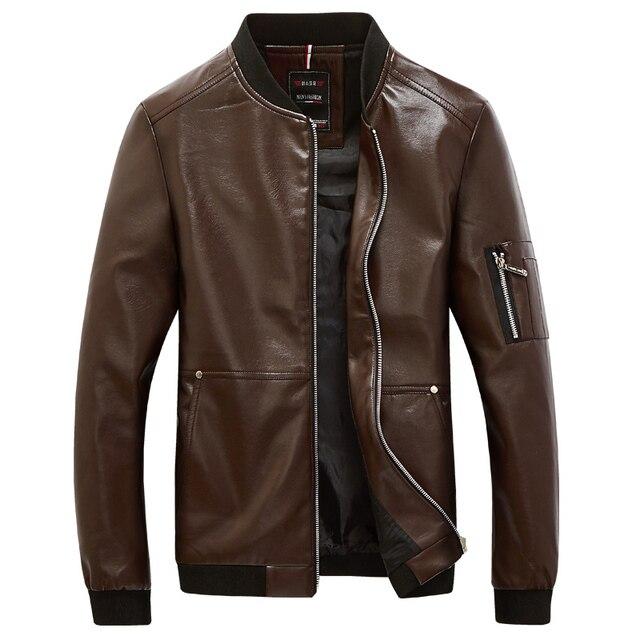 2016 Autumn Winter Men Jacket Faux Leather Motorcycle Jacket Male Coat Baseball Collar Slim Bomber Jackets Man jaqueta masculina