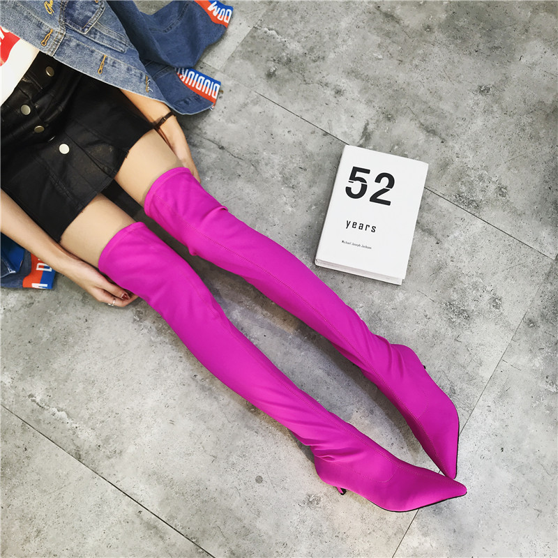 Sexy Silk Elastic Over The Knee Boots Women Stiletto Heel Thigh High Boots Fashion Botines Mujer Candy Color Party Dress Shoes spring autumn silk elastic over the knee boots women stiletto heel thigh high botas mujer candy color wedding party dress shoes