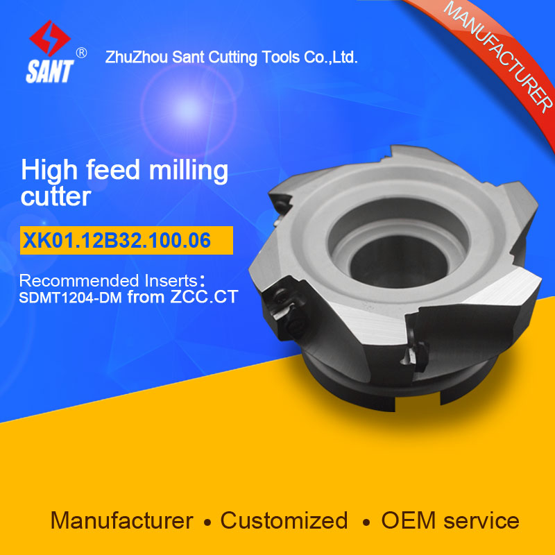 Suggested XMR01-100-B32-SD12-06 Indexable Milling cutter SANT XK01.12B32.100.06 with SDMT1204-DM carbide insert