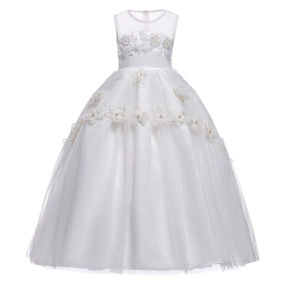 Fleur blanche filles dentelle blanche robes pour nouvel an vêtements fête bébé fille princesse robe de mariée enfants fête Vestido Infanti