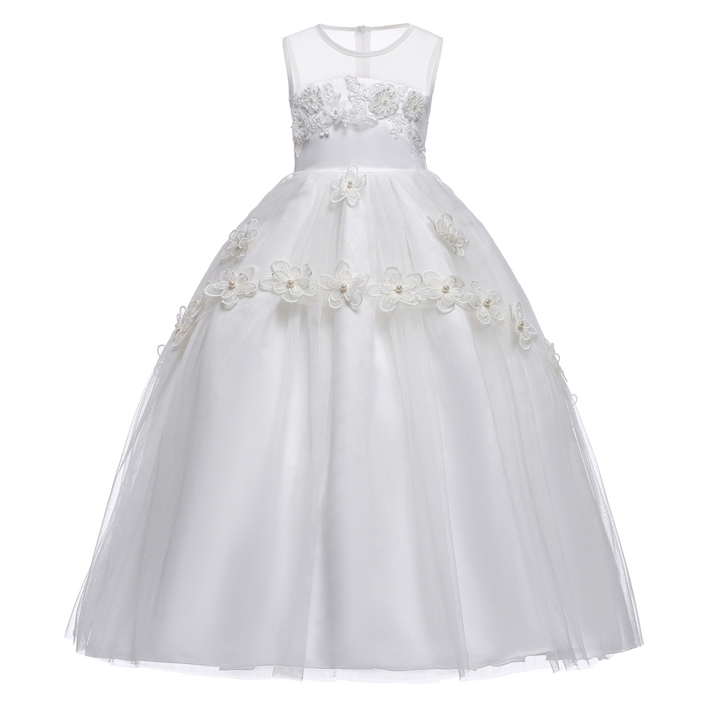White Flower Girls White Lace Dresses For New Year Clothes Party Baby Girl Princess Wedding Dress Children Party Vestido Infanti children girls dress summer lace sleeveless holiday party wedding princess a line dresses girl clothes vestido infantil 2968w