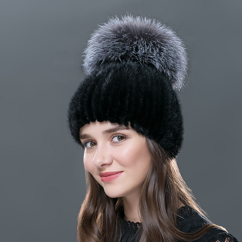 2016 Russia Winter Mink Skullies Beanies For Women Genuine Fur Hats Big Hairball Paisley Pure Hedging Cap Female Cappelli DM-03 2017 new lace beanies hats for women skullies baggy cap autumn winter russia designer skullies