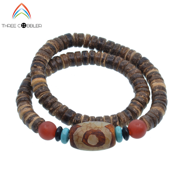 Three Eye Dzi Bead Natural Coconut S Beaded Stretch Bracelet Tibetan Buddhism Prayer Beads Jewelry Yoga