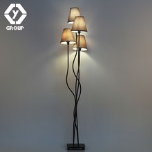 OYGROUP 4 Head Modern Indoor Floor Lamp Lighting for Bedroom Hotel Bar Living Room with 4 Piece of E14 Brown Lampshade Russian