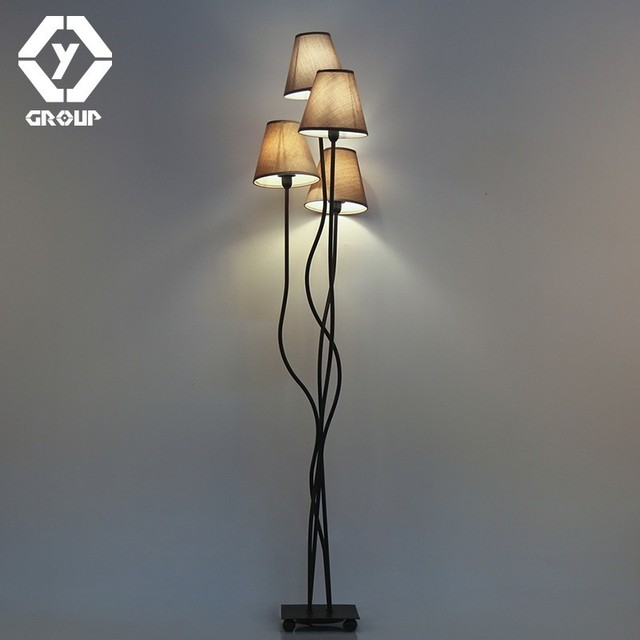 Oygroup 4 Head Modern Indoor Floor Lamp Lighting For Bedroom Hotel Bar Living Room With Piece Of E14 Brown Lampshade Russian