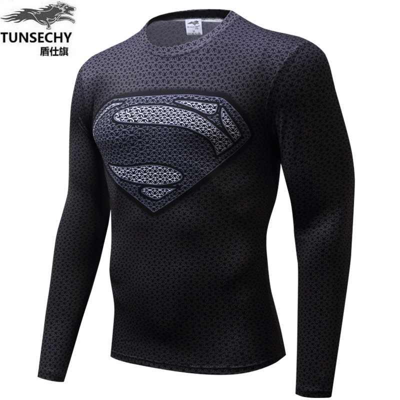 2016 Örümcek Adam Ironman Superman Kaptan Amerika Sıkıştırma Gömlek Süper Kahraman Asker marvel çizgi roman Erkek Uzun T Gömlek