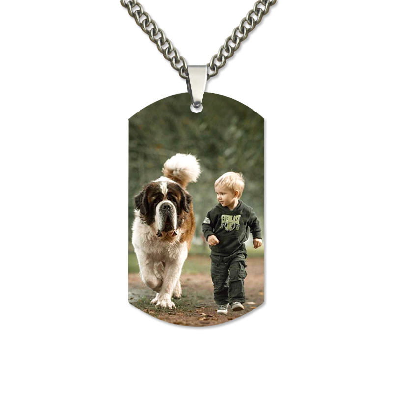 AILIN Personalized Color Photo Stainless Steel Necklace Engraved Dog Tag Pendant Memorial Gift vnox personalized id necklace pendant stainless steel silicone dog tag jewelry provide engrave record servise
