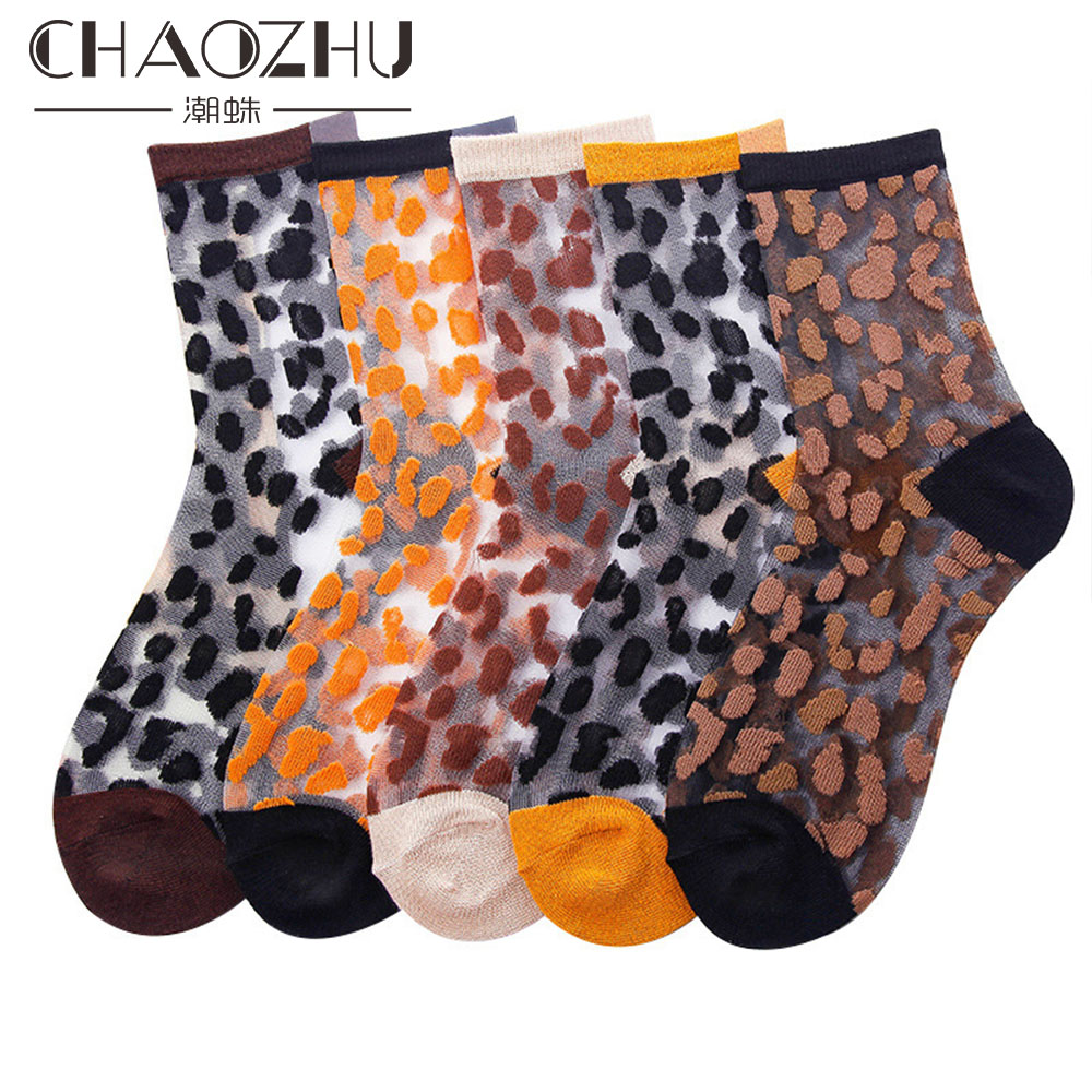 Chaozhu Spring Summer Transparent Crystal Silk   Socks   Women Sexy Leopard Grain Fashion Casual Breathable Calcetines Mujer